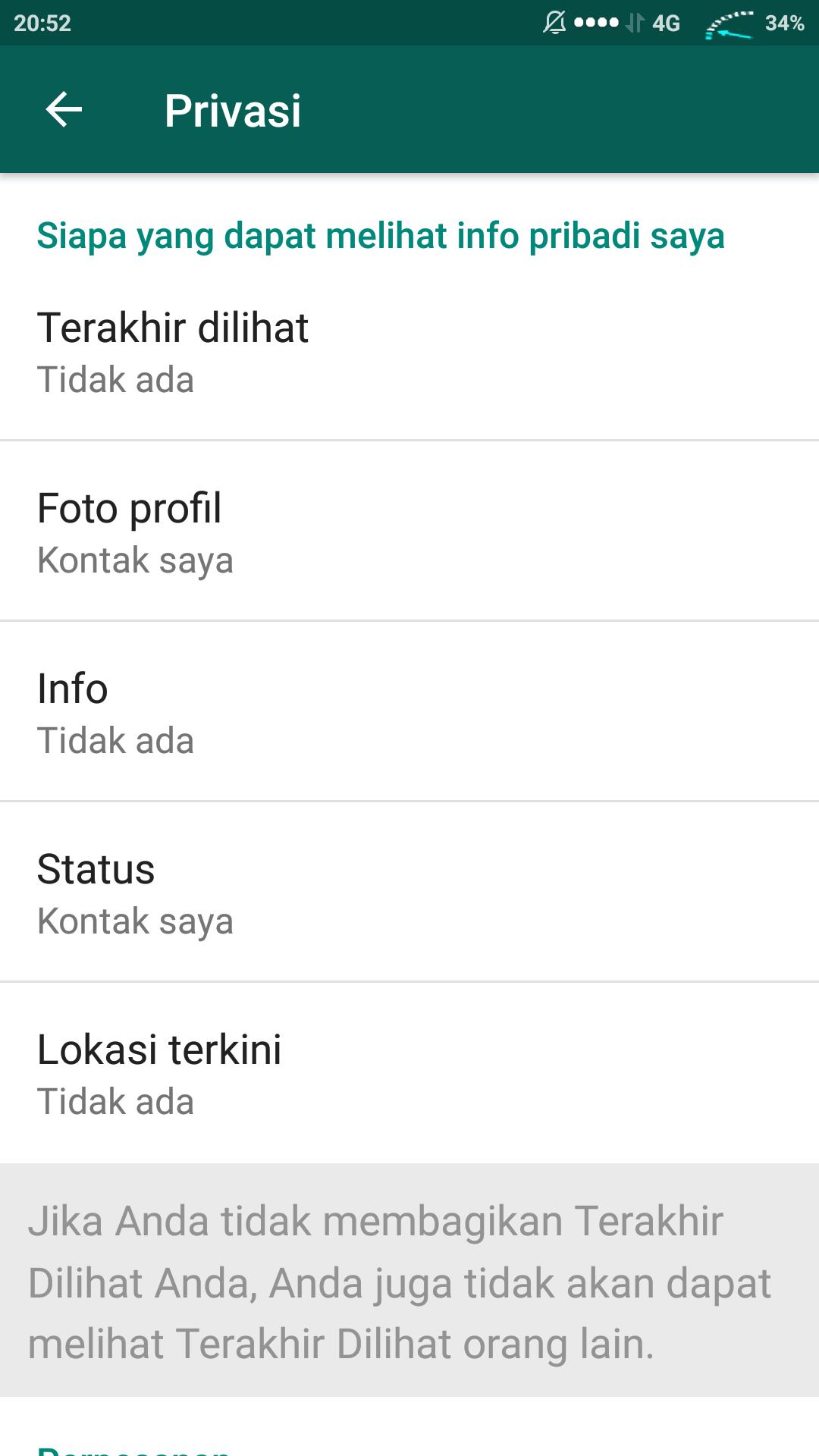 Halaman pengaturan Privasi Whatsapp