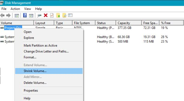 disk management untuk install remix os