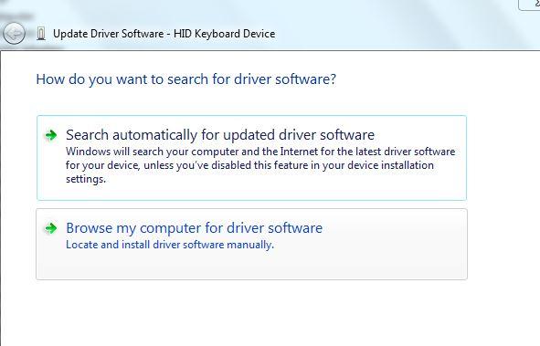 klik browse my computer untuk mulai disable keyboard laptop
