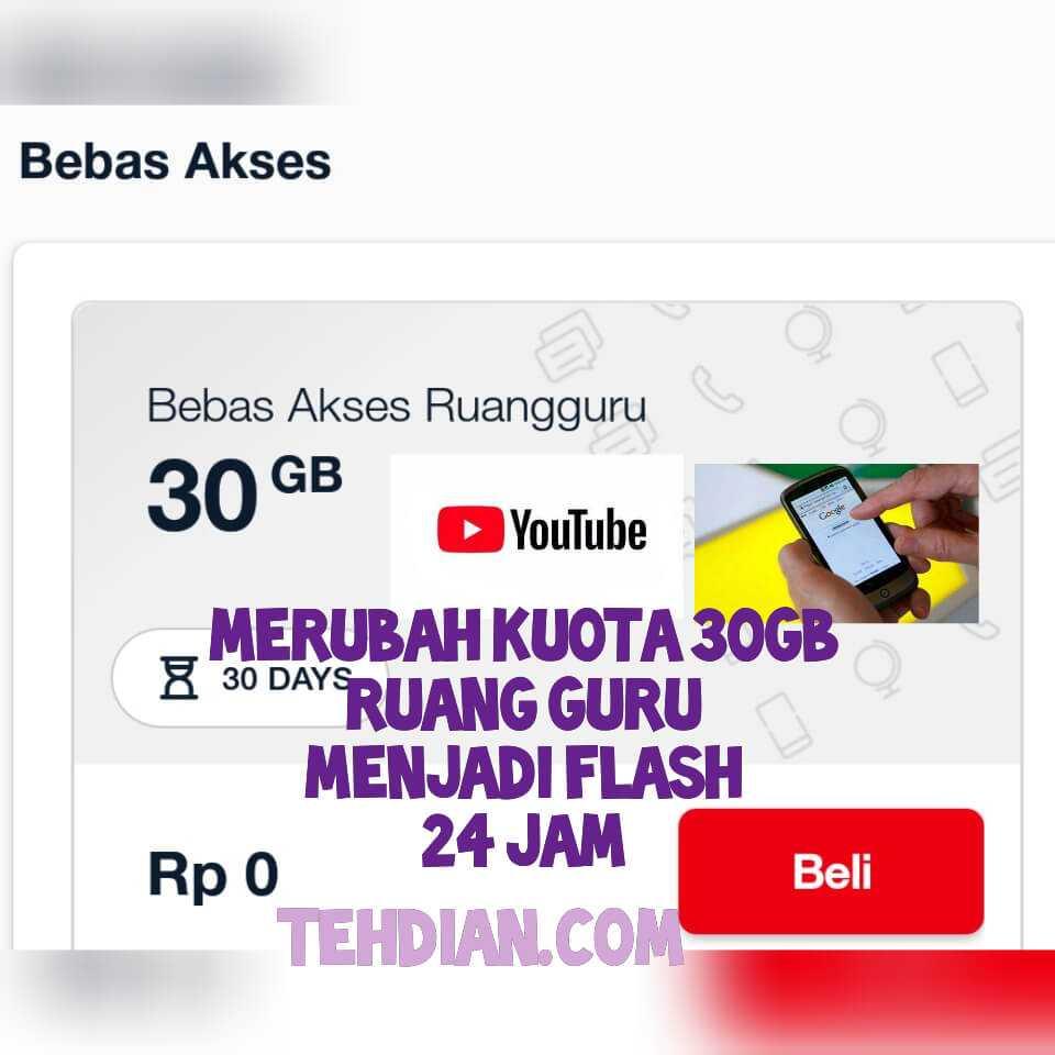 Cara merubah kuota 30GB 0 rupiah menjadi flash