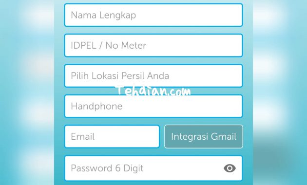 Formulir daftar pln mobile