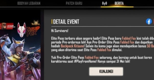 Pre-order event free fire buruan klaim EP 25