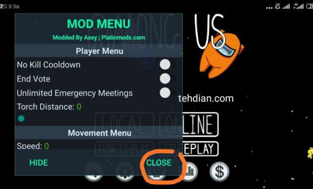 Daftar fitur di menu Mod Among Us